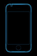 3D 3G rendered blue transparent x-ray phone