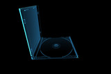 3D rendered blue transparent x-ray CD enclosure poster