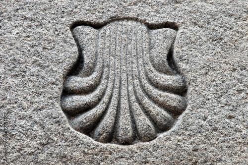 Pilgermuschel Granit Symbol am Jakobsweg