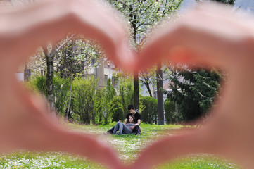 Hand shaped love in the park