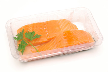 packaged salmon fillets isolated
