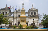 fountain and leon cathedral in central park leon nicaragua poster