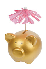 Gold piggy bank with tattered umbrella isolated on white
