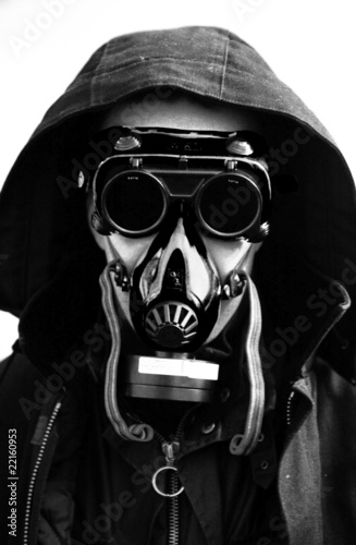 portrait in gas mask (B&W)