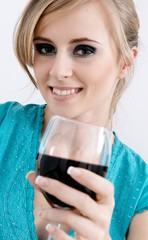 girl with glass of wine