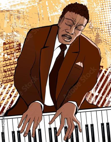 pianista na tle grunge