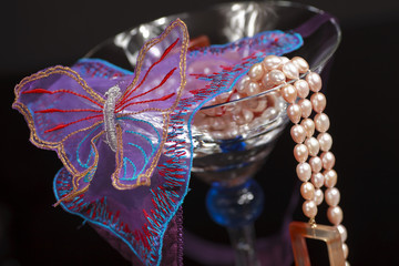 Lingerie in Martini Glass with Pearls
