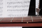 Closeup Guitar Neck, Nnotes and Metronome