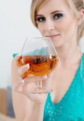 girl with glass of champagne