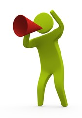 Person speaking using megaphone