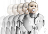 Child robot, creating clones, genetic engineering poster