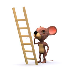 3d Mouse about to climd ladder