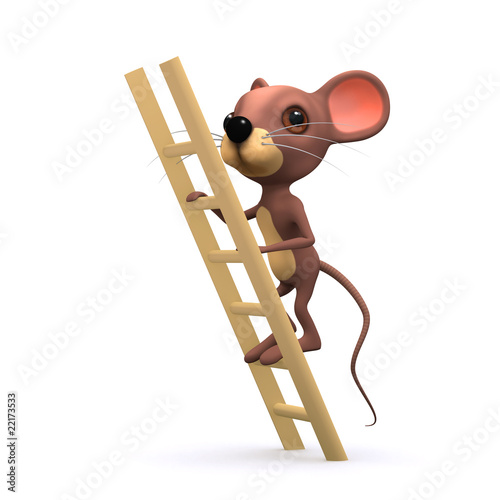 3d mouse climbing ladder