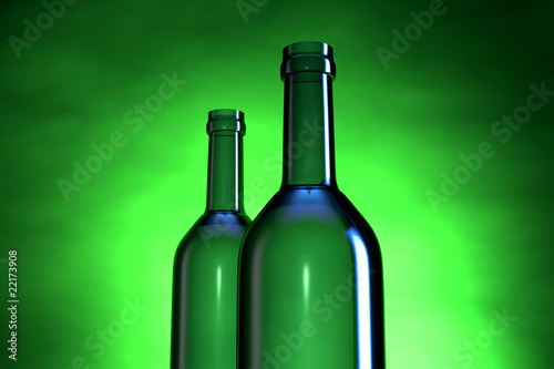Wine bottle in three dimensional with light background