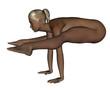 Naked woman exercising yoga - Firefly Pose