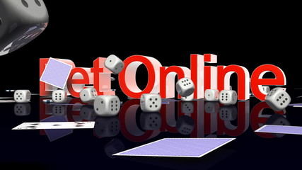 BetOnline text with casino chips dice and cards falling