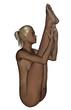 Naked woman exercising yoga - Seated Forward Bend