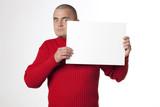 homme stupéfait panneau insertion blanc poster
