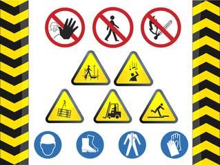 Construction icon hazard safety signs vector set