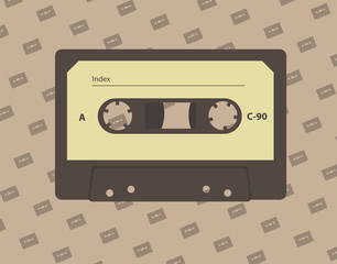 Audio cassette. Vector illustration.