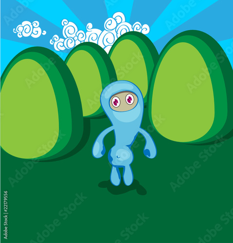 Blue ninja among green hills.