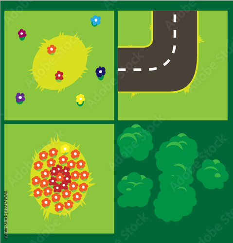 Vector Pattern Countryside. Top view.