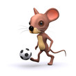 3d mouse kicking football