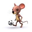 3d mouse kicking football