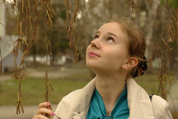 a girl under the birch-tree