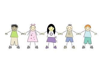 Multikulti: Fünf fröhliche Kinder halten sich an den Händen