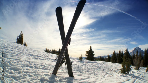 Crossed Downhill Skis