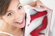 Woman happy for shopping shoes