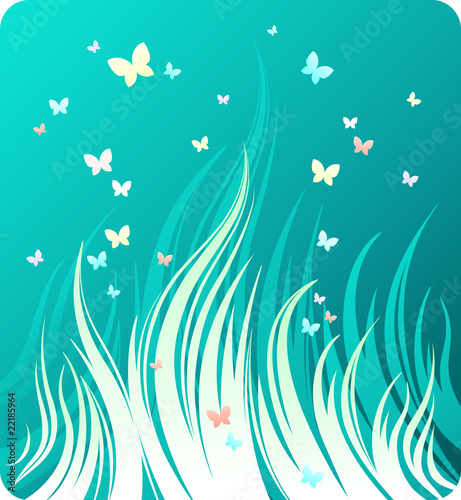 Decorative green background with grass and butterflies
