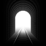 Railroad tunnel. Detailed vector. poster