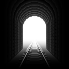 Railroad tunnel. Detailed vector.