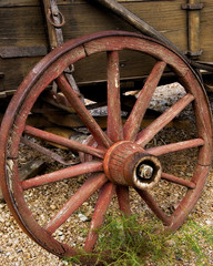 Old Wagon Wheel with Wooden Spokes