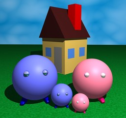 3d illustration of a family in front of their house