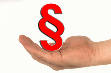 Offene Hand mit Paragraphenzeichen Handzeichen
