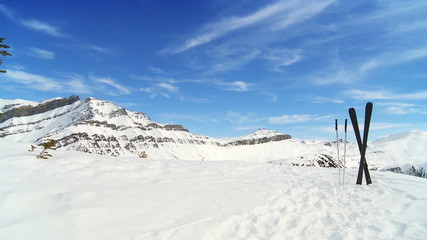 Crossed carver downhill skis & poles in fresh clean snow