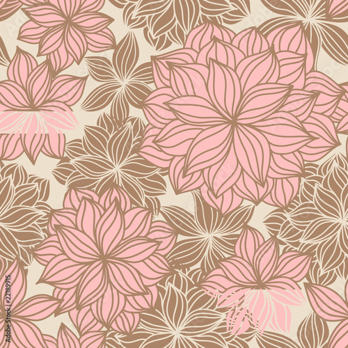 Doodle Floral Seamless Pattern Color
