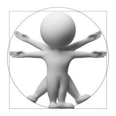 3d small people - vitruvian man