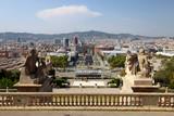 Panoramic view of Plaza Espanya, Barcelona, Spain poster
