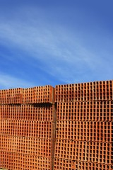construction bricks stacked pattern red clay