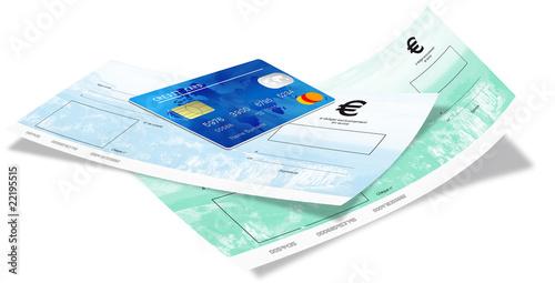 cheque vert et bleu avec carte de credit de baillou photo libre de droits 22195515 sur. Black Bedroom Furniture Sets. Home Design Ideas