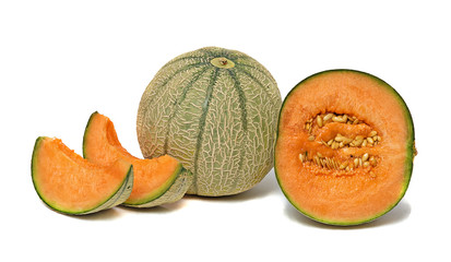 melon and segments isolated on white background