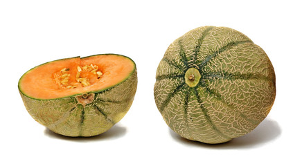 melon and section isolated on white background