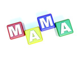 text MAMA on the child blocks poster