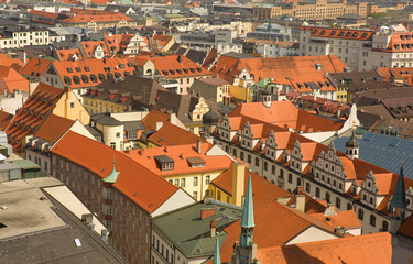 Roofs of central Munich, Bavaria, Germany