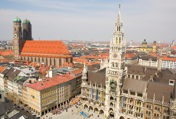 Aerial view of Munchen (Bavaria, Germany) with the New Town Hall