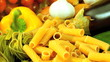 Fresh vegetarian ingredients of vegetables & pasta